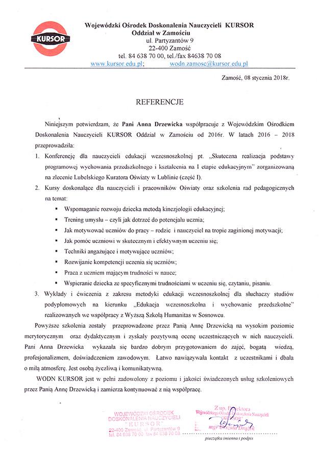 WODN KURSOR - Edukator Anna Drzewicka - Szkoła Szybkiego Czytania i Technik Uczenia Się w Zamościu